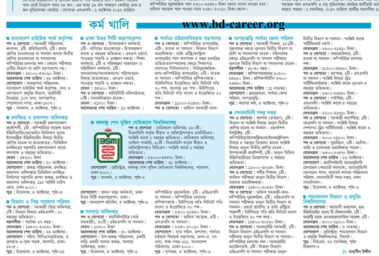 Kalerkantho Weekly Job Circular 11 October 2017 Chakri Ache