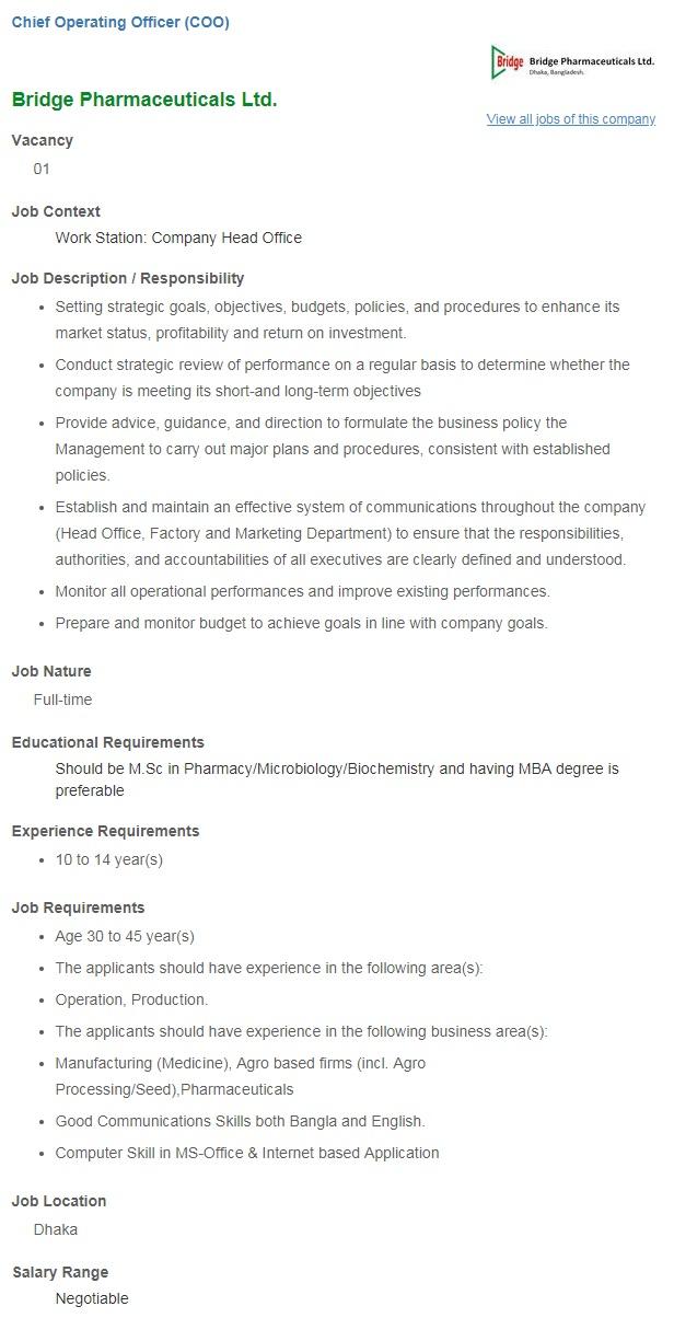 Bridge Pharmaceuticals Ltd Job Circular