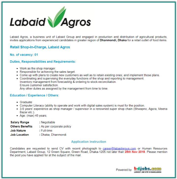 See Labaid Agros Job Circular